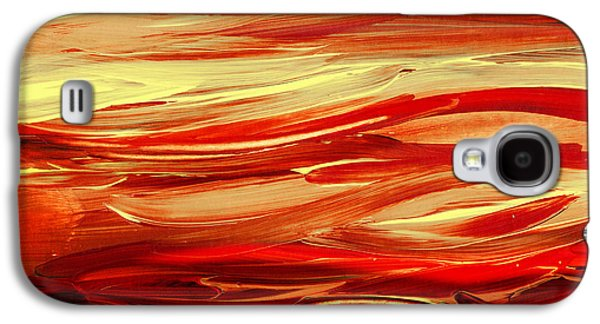 Inspired Paintings Galaxy S4 Cases - Sunset At The Red River Abstract Galaxy S4 Case by Irina Sztukowski