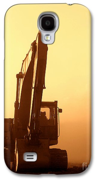 Machinery Galaxy S4 Cases - Sunset Excavator Galaxy S4 Case by Olivier Le Queinec