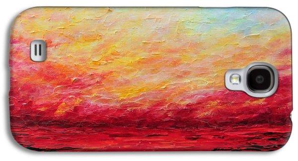 Sunset Abstract Galaxy S4 Cases - Sunset Fiery Galaxy S4 Case by Teresa Wegrzyn