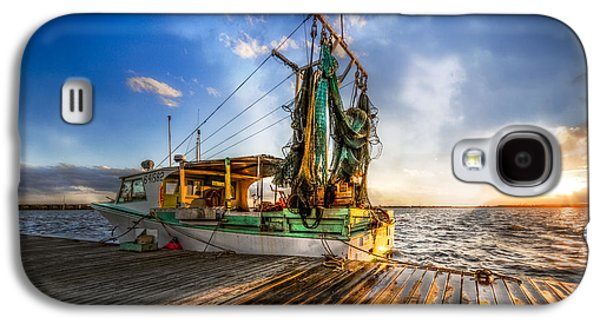 Sailboats In Harbor Galaxy S4 Cases - Sunset Fishing Galaxy S4 Case by Debra and Dave Vanderlaan
