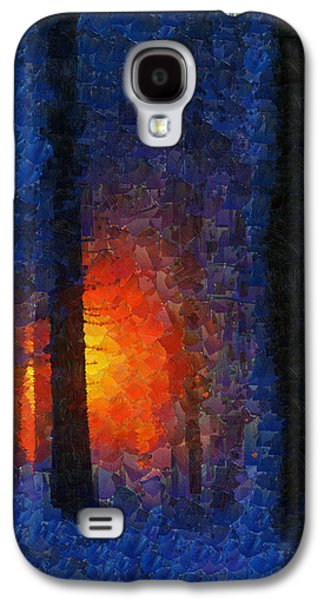Abstract Digital Paintings Galaxy S4 Cases - Sunset Forest Winter Galaxy S4 Case by Georgi Dimitrov
