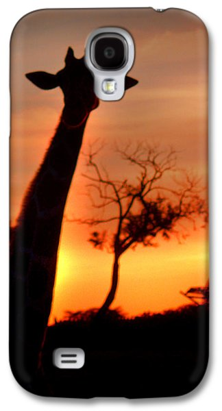 Sunset Greeting Cards Galaxy S4 Cases - Sunset Giraffe Galaxy S4 Case by Joseph G Holland