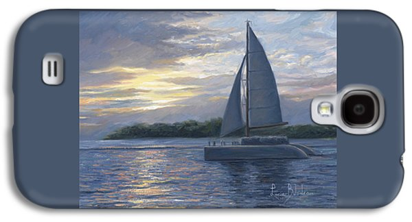Sailboat Ocean Paintings Galaxy S4 Cases - Sunset In Key West Galaxy S4 Case by Lucie Bilodeau