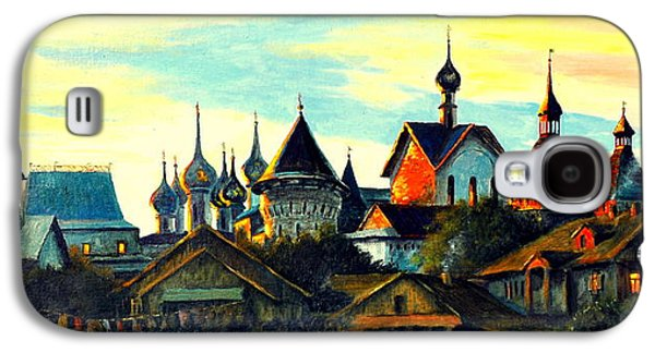 Church Pillars Paintings Galaxy S4 Cases - Sunset in Rostov Galaxy S4 Case by Henryk Gorecki