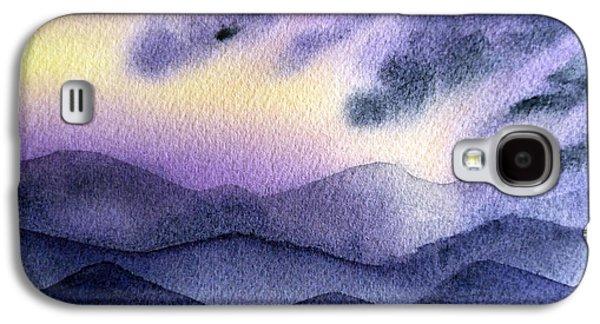 Sun Rays Paintings Galaxy S4 Cases - Sunset In The Mountains Galaxy S4 Case by Irina Sztukowski