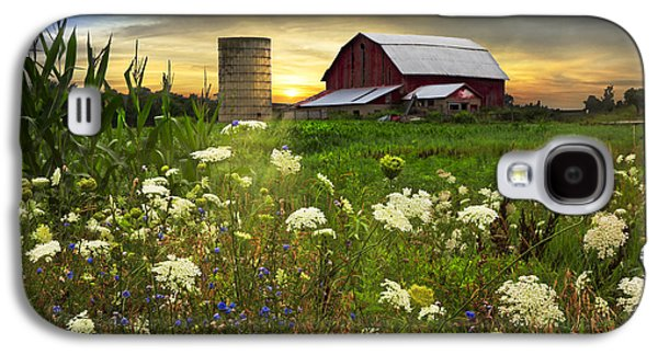 Pasture Scenes Galaxy S4 Cases - Sunset Lace Pastures Galaxy S4 Case by Debra and Dave Vanderlaan