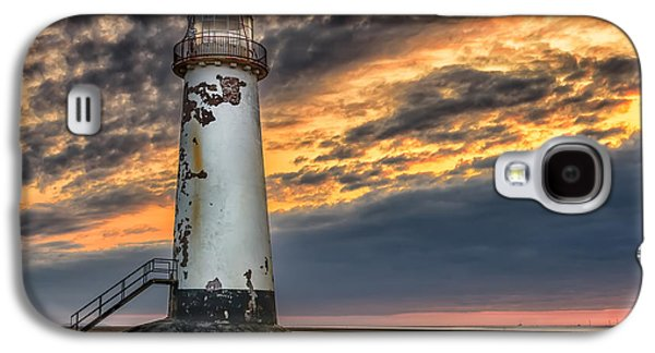 Shore Digital Art Galaxy S4 Cases - Sunset Lighthouse Galaxy S4 Case by Adrian Evans