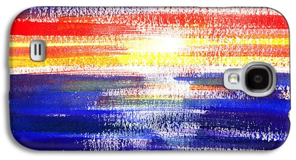 Sunset Abstract Paintings Galaxy S4 Cases - Sunset Lines Abstract Galaxy S4 Case by Irina Sztukowski