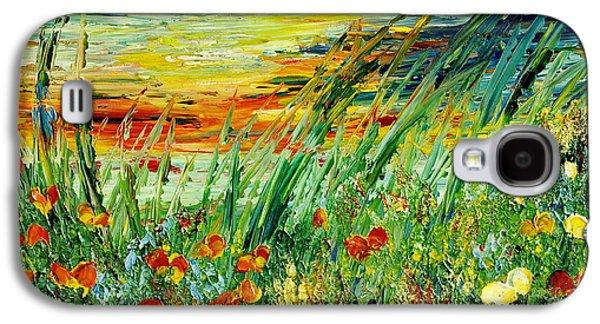 Sunset Abstract Galaxy S4 Cases - SUNSET MEADOW series Galaxy S4 Case by Teresa Wegrzyn