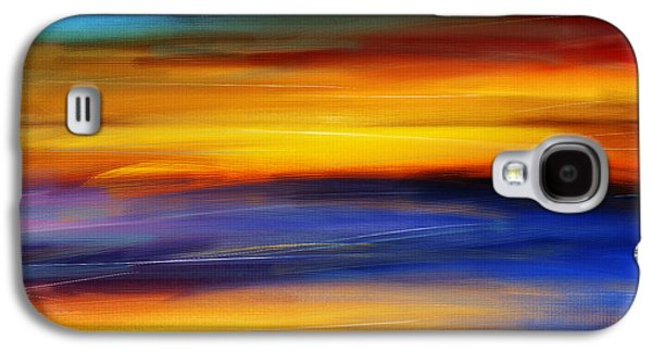 Abstract Seascape Digital Art Galaxy S4 Cases - Sunset Of Light Galaxy S4 Case by Lourry Legarde
