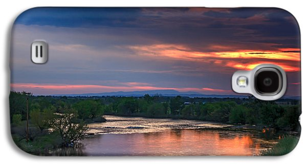 River Flooding Galaxy S4 Cases - Sunset On The Payette  River Galaxy S4 Case by Robert Bales