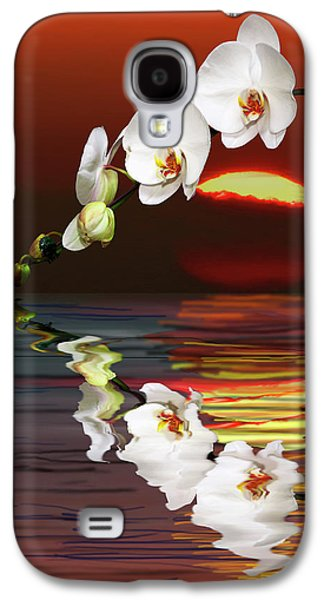 Sunset Abstract Galaxy S4 Cases - Sunset Orchids Galaxy S4 Case by Angela A Stanton