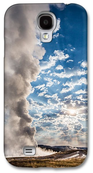 Nature Photographs Galaxy S4 Cases - Sunset over Old Faithful - Vertical Galaxy S4 Case by Andres Leon