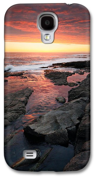 Waterscape Galaxy S4 Cases - Sunset over rocky coastline Galaxy S4 Case by Johan Swanepoel