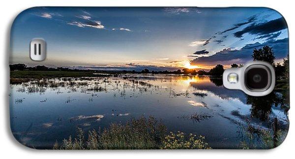 A Summer Evening Landscape Galaxy S4 Cases - Sunset over the River Galaxy S4 Case by Steven Reed