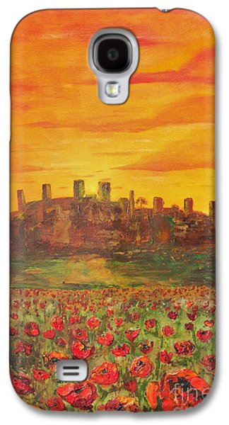 Tuscan Sunset Paintings Galaxy S4 Cases - Sunset Poppies Galaxy S4 Case by Jodi Monahan