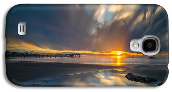 Waterscape Galaxy S4 Cases - Sunset Reflections in San Diego square version Galaxy S4 Case by Larry Marshall
