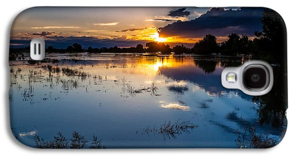 A Summer Evening Landscape Galaxy S4 Cases - Sunset Reflections Galaxy S4 Case by Steven Reed