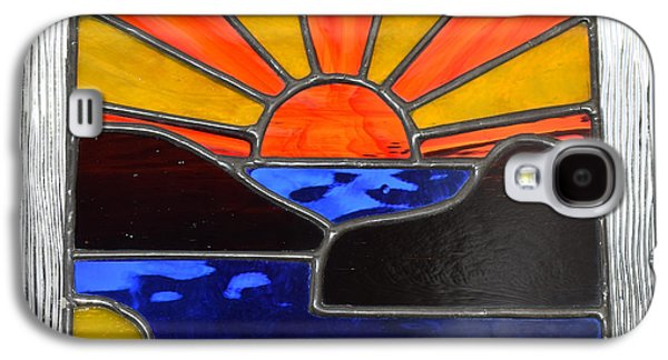Sunset Abstract Glass Art Galaxy S4 Cases - Sunset Galaxy S4 Case by Rosalind Duffy