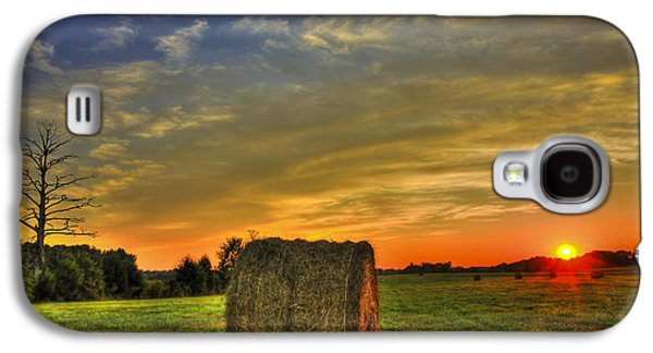 Pastureland Galaxy S4 Cases - Sunset Round Bale Lick Skillet Road Galaxy S4 Case by Reid Callaway