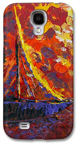 Sunset Abstract Galaxy S4 Cases - Sunset Sail Galaxy S4 Case by Donna Blackhall