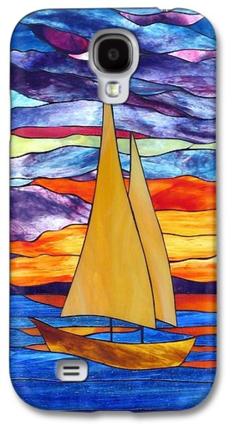 Transportation Glass Galaxy S4 Cases - Sunset Sailboat Galaxy S4 Case by Suzanne Tremblay