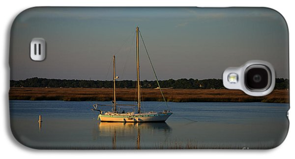 Sailboats In Harbor Galaxy S4 Cases - Sunset Sailboat at Beaufort SC Galaxy S4 Case by Reid Callaway