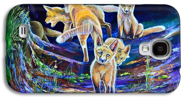 Fox Kit Paintings Galaxy S4 Cases - Sunset Six Pack Galaxy S4 Case by AnnaJo Vahle