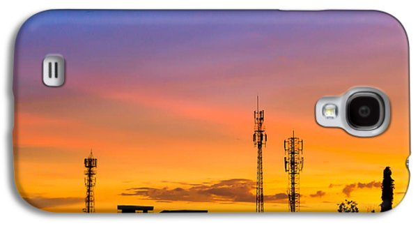 Business Pyrography Galaxy S4 Cases - Sunset Sky With Silhouette Antenna Galaxy S4 Case by Apichart Meesri