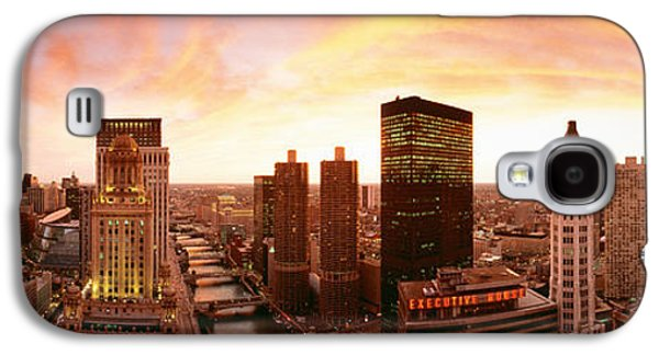 Business Galaxy S4 Cases - Sunset Skyline Chicago Il Usa Galaxy S4 Case by Panoramic Images