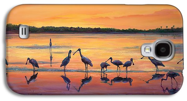 Flock Of Birds Paintings Galaxy S4 Cases - Sunset Spoonbills Galaxy S4 Case by Laurie Hein