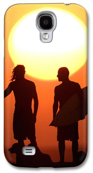 Surf Silhouette Galaxy S4 Cases - Sunset Surfers Galaxy S4 Case by Sean Davey