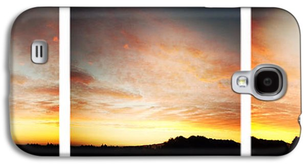 Nature Abstract Galaxy S4 Cases - Sunset triptych Galaxy S4 Case by Les Cunliffe