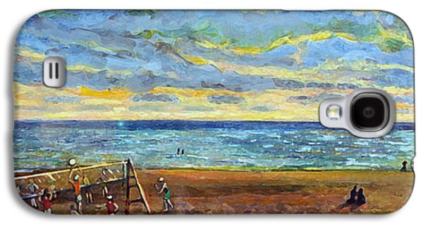 Quaker Paintings Galaxy S4 Cases - Sunset Volleyball at Old Silver Beach Galaxy S4 Case by Rita Brown
