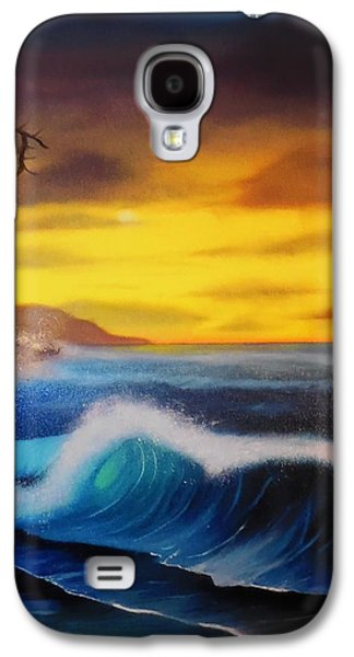 Bob Ross Paintings Galaxy S4 Cases - Sunset Wave Galaxy S4 Case by Charles Eagle
