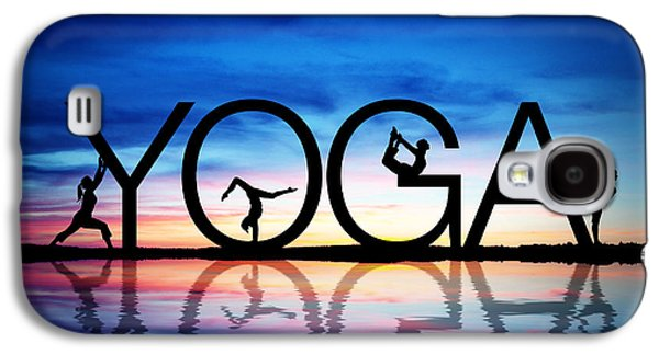 Strength Galaxy S4 Cases - Sunset Yoga Galaxy S4 Case by Aged Pixel