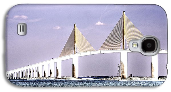 Sunshine Skyway Bridge Galaxy S4 Cases - Sunshine Skyway Bridge Poster Look Tampa Bay Florida USA Galaxy S4 Case by Sally Rockefeller