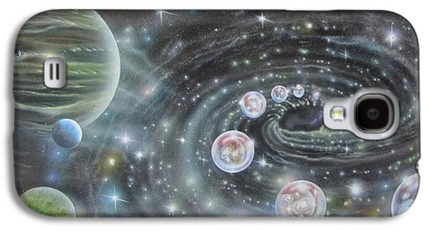 Cosmic Space Paintings Galaxy S4 Cases - Super Massive Black Hole With Multiverse Galaxy S4 Case by Sam Del Russi