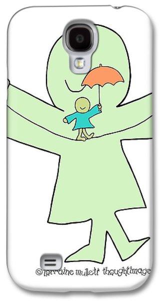 Inner Self Mixed Media Galaxy S4 Cases - Super-self Umbrella Balance Galaxy S4 Case by Lorraine Mullett