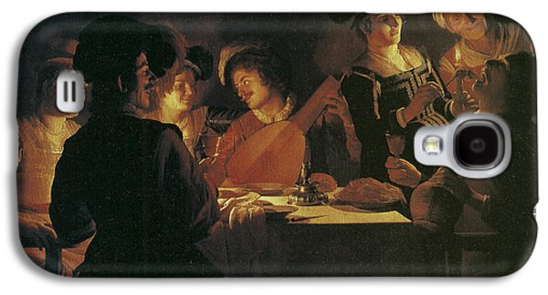 Lute Paintings Galaxy S4 Cases - Supper Party with Lute Player Galaxy S4 Case by Gerrit van Honthorst
