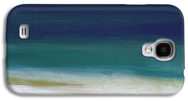Sun Mixed Media Galaxy S4 Cases - Surf and Sky- abstract beach painting Galaxy S4 Case by Linda Woods