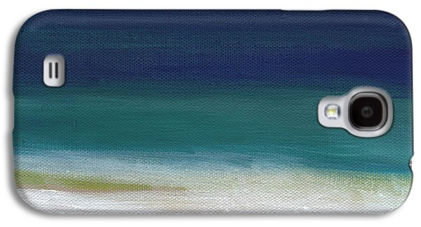 Beach Landscape Galaxy S4 Cases - Surf and Sky- abstract beach painting Galaxy S4 Case by Linda Woods