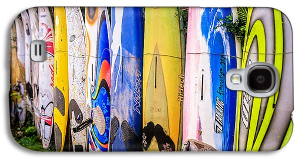 Landscape Metal Prints Galaxy S4 Cases - Surfboard Fence Maui Hawaii Galaxy S4 Case by Edward Fielding