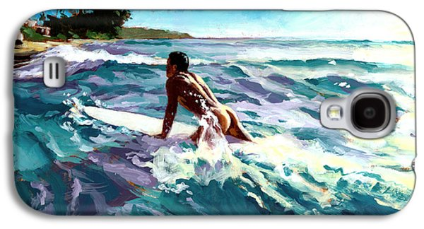 Male Paintings Galaxy S4 Cases - Surfer Coming In Galaxy S4 Case by Douglas Simonson