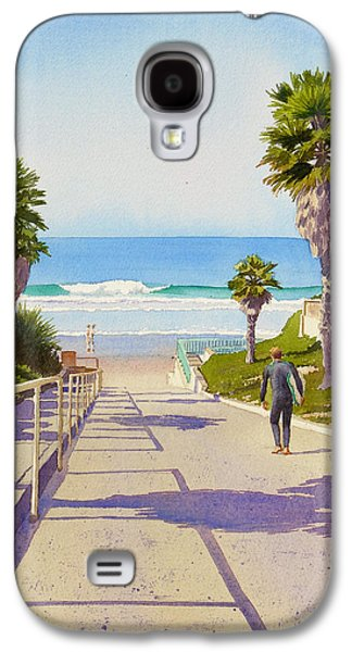California Beaches Galaxy S4 Cases - Surfer Dude at Fletcher Cove Galaxy S4 Case by Mary Helmreich