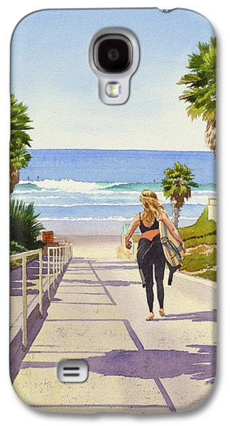 Girl Galaxy S4 Cases - Surfer Girl at Fletcher Cove Galaxy S4 Case by Mary Helmreich