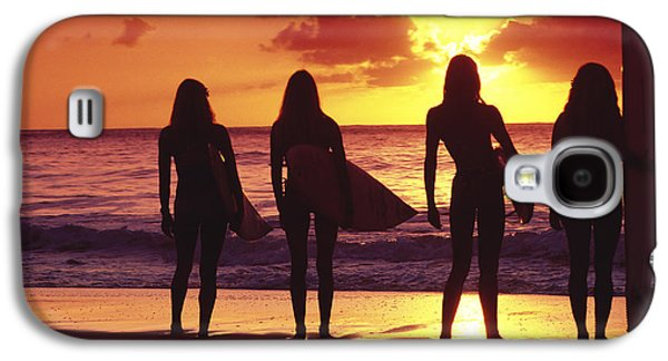 Sunset Framed Prints Galaxy S4 Cases - Surfer girl silhouettes Galaxy S4 Case by Sean Davey