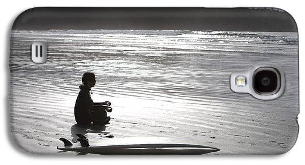 Contemplative Photographs Galaxy S4 Cases - Surfer Meditating On Beach, Cox Bay Galaxy S4 Case by Deddeda