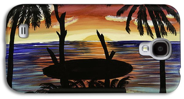 Etc. Paintings Galaxy S4 Cases - Surfers Bench Galaxy S4 Case by Donna Guzman