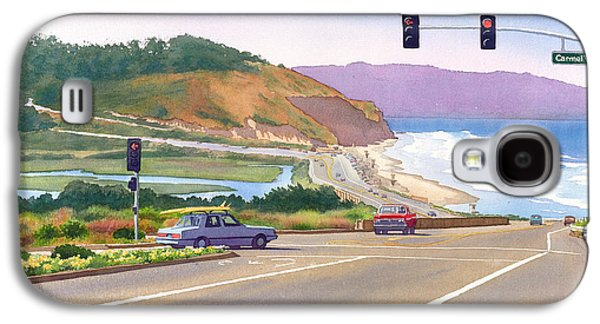 Pine Paintings Galaxy S4 Cases - Surfers on PCH at Torrey Pines Galaxy S4 Case by Mary Helmreich
